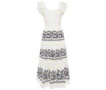 Julietta Lace-up Tiered Broderie Anglaise Cotton Midi Dress