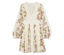 Minikleid aus Seiden-georgette mit Floralem Print und Spitzenbesatz