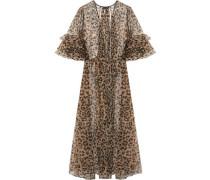 Bossie Bye leopard-print silk-organza robe