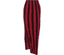 Striped crinkled silk crepe de chine maxi skirt