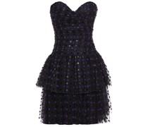 Gestuftes, Trägerloses Minikleid aus Beflocktem Tüll mit Polka-dots