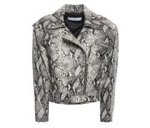 Perri Snake-effect Leather Biker Jacket