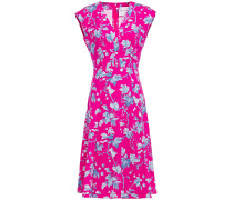 Pleated Floral-print Stretch-cotton Poplin Dress