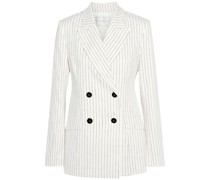 Tate Double-breasted Pinstriped Linen-blend Blazer