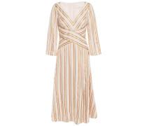 Pleated Metallic Striped Jacquard Midi Dress