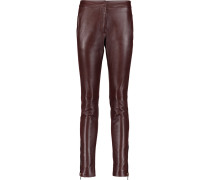 Leather Skinny Pants Burgunder