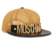 Leather-trimmed Mesh Cap Gold