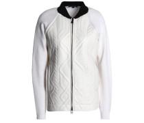 Paneled wool and embossed leather jacket