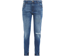 Woman Distressed Mid-rise Skinny Jeans Light Denim