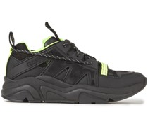 Neon-trimmed Rubber, Leather And Mesh Sneakers