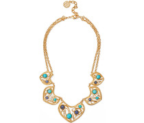 24-karat -plated, Turquoise And Stone Necklace
