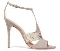 Connie Snake Effect-trimmed Suede Sandals Taupe