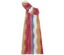 Janika Gestreifte Robe aus Seide mit Pailletten und Asymmetrischer Schulterpartie