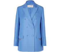Oversized Double-breasted Wool And Silk-blend Blazer Light Blue