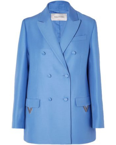 Woman Oversized Double-breasted Wool And Silk-blend Blazer Light Blue