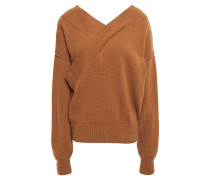 Wrap-effect Merino Wool And Cashmere-blend Sweater