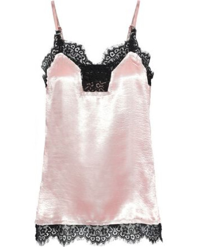 Tarra Lace-trimmed Textured-satin Camisole Blush
