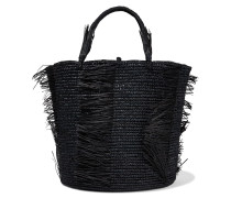 Woman Caramelo Fringed Woven Toquilla Straw Tote Black