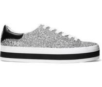 Ezra Glittered Canvas Platform Sneakers Silver