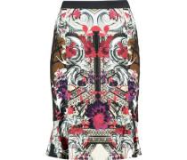 Printed crepe de chine skirt