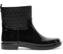Paneled quilted rubber ankle boots