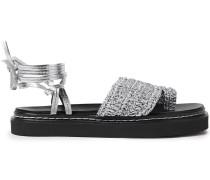Braided Metallic Leather Platform Sandals