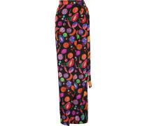 Printed Silk Crepe De Chine Maxi Skirt Mehrfarbig
