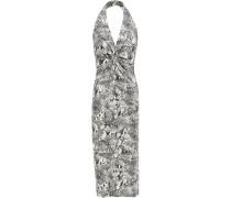 Woman Twist-front Snake-print Stretch-jersey Halterneck Dress Animal Print