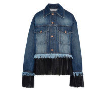 Pleated Tulle-trimmed Frayed Denim Jacket Mid Denim