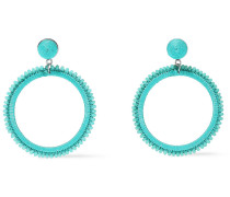 Silver-tone, Bead And Cord Hoop Earrings