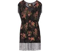 Beaded Mesh Mini Dress Schwarz