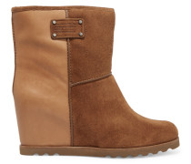 Suede And Leather Wedge Ankle Boots Braun
