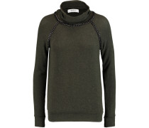 Chain-trimmed Stretch-jersey Turtleneck Sweater Armeegrün