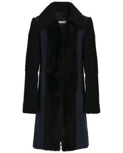 Shearling-paneled Wool-blend Coat Storm Blue