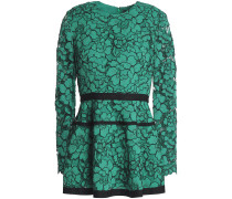 Grosgrain-trimmed Corded Lace Peplum Top
