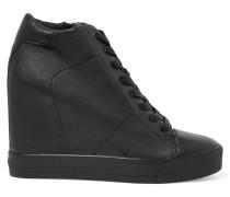 Ginnie Leather Wedge Sneakers Schwarz