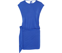 Draped Modal-jersey Mini Dress Blau