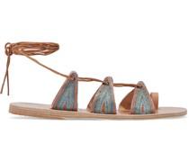 + Le Sirenuse Positano Alcyone Sandalen aus Metallic-leder mit Stickereien