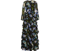 Ruffled embellished floral-print chiffon gown