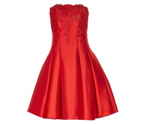 Strapless Pleated Lace And Duchesse Satin-twill Mini Dress Rot