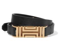 + Fitbit Fret Leather Wrap Bracelet Messing