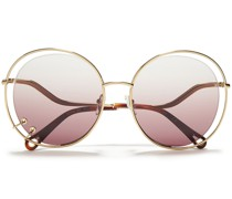 Round-frame Ring-embellished Gold-tone And Acetate Sunglasses