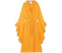 Anita Ruffled Linen-blend Gauze Wrap Dress