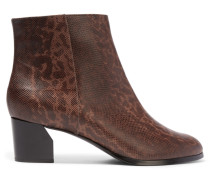 Liz Printed Textured-leather Ankle Boots Dunkelbraun