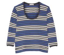 Brigitte Striped Cotton-jersey Pajama Top Blau