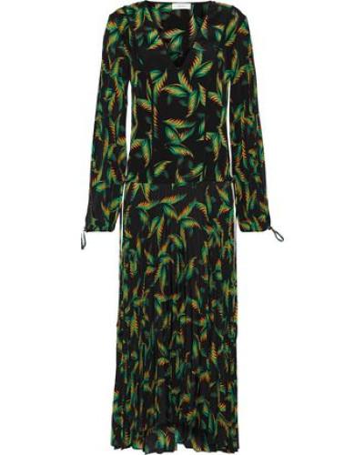 Woman Brooks Printed Silk Midi Dress Black