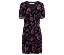 Ruched Devoré-velvet Mini Dress