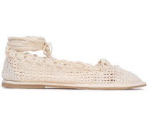 Lace-up Metallic Crochet-knit Ballet Flats Ecru