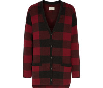 The V Neck Checked Wool And Cotton-blend Cardigan Rot