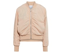 Snap-detailed Ruched Shell Bomber Jacket